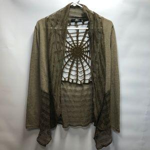 Forla Paris taupe/brown spider web cardigan SZ L